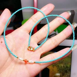 孤品!私人订制深海珊瑚天然珍珠高瓷绿松石圆珠锁骨项链!