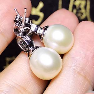 柔美珠光!天然淡水珍珠香槟色漂亮近圆珍珠银镀白金镶耳钉一对