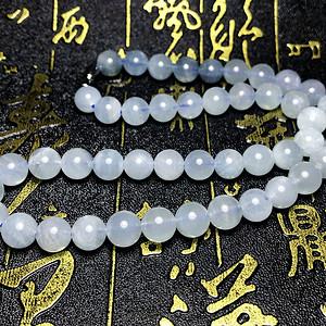 夏日小清新!天然冰体海蓝宝石圆珠水晶项链!