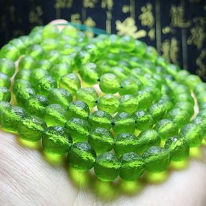 天外来物精品高绿!纯天然捷克陨石原石完美满绿108佛珠手链