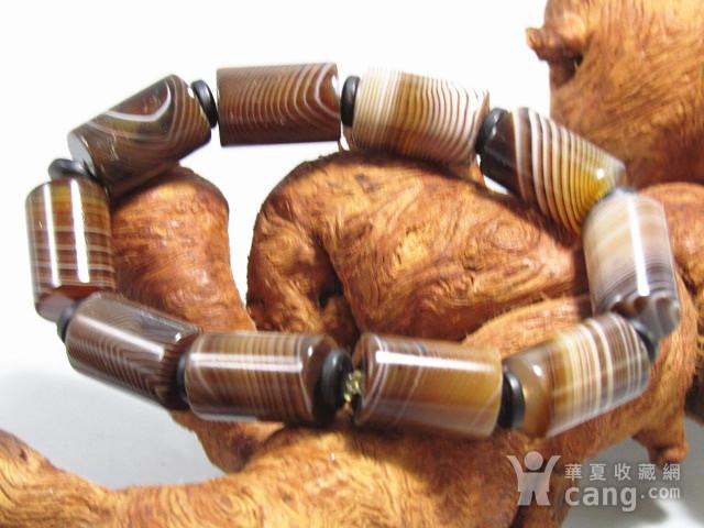 天然缠丝玛瑙 桶珠手串图1