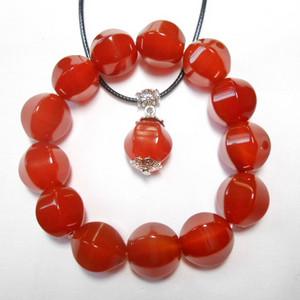 创汇时期 天然樱桃红玛瑙 手串项链两件套 甚是漂亮