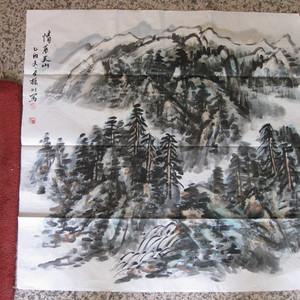 山水斗方。赵振川,情系天山。69 69厘米