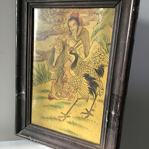 清代老木框仙人引鹤瓷板