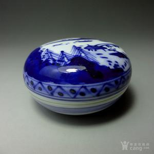 青花山水风景纹精美小印泥盒!