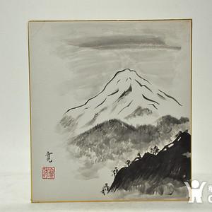 日本回流!国外画家纯手绘富士山水墨画!雅致有款!