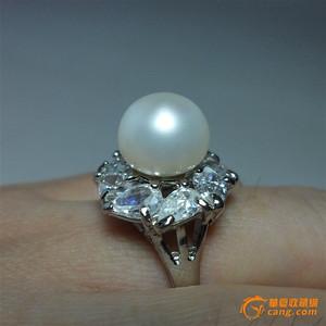 天然大珍珠戒指!18K镀金镶嵌锆钻!
