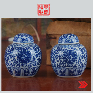 景德镇文革瓷器 老厂货瓷 建国瓷厂�{白泥青花洋莲宝珠坛一对