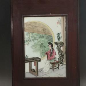 建国初期 粉彩仕女小瓷板