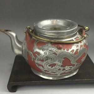 民国 包锡紫砂提梁茶壶