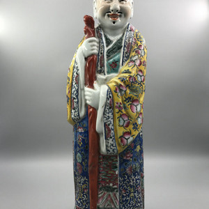 民国朱茂记造 精品粉彩寿星塑像