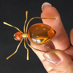 8039欧洲回流俄罗斯金工琥珀蜘蛛胸针