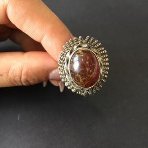 8044欧洲回流老银镶嵌琥珀戒指