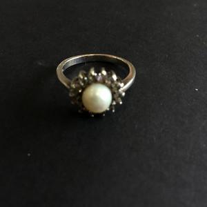 8091欧洲回流老银镶嵌珍珠戒指