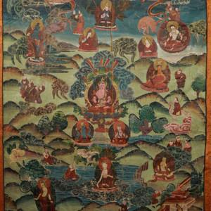 手绘老唐卡 西藏宁玛派传承:无量寿佛唐卡