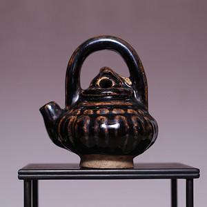 藏海淘 明磁州窑黑釉小提梁壶水滴 SN108