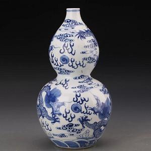 比利时回流的晚清葫芦龙纹瓶