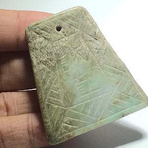 清早期 翡翠 梯形 斋戒牌 手工雕刻 工艺不错