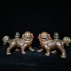 英国回流的民国醴陵瓷酱色对狮子
