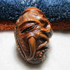 精品 开门到代 晚清时期 大师级 精工雕刻 象鼻财神