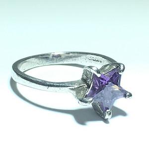 回流 天然紫水晶 星星 戒指 手工打磨 火彩漂亮