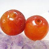 唐红玛瑙珠 两颗包浆熟厚