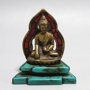 藏传 老铜打造藏佛 带佛光 镶红松绿松石 摆件手工崭刻