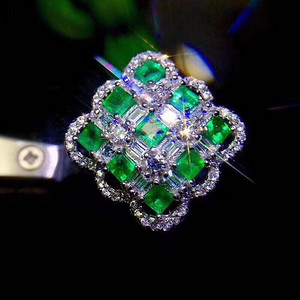 联盟 哥伦比亚祖母绿戒指 K金镶嵌