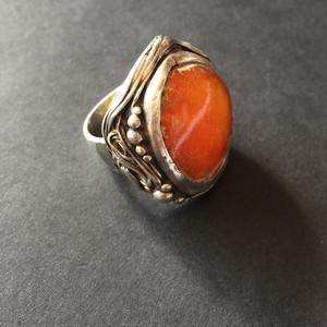 8102欧洲回流老蜜蜡银戒指