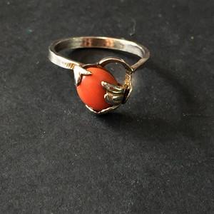 8136欧洲回流老银嵌珊瑚戒指