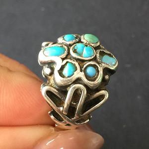 8137欧洲回流老银镶嵌绿松石戒指