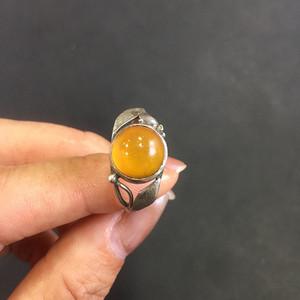 8154欧洲回流老银琥珀戒指