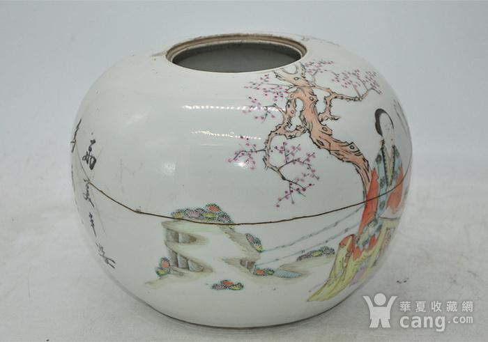 人物粉彩老瓷罐图7
