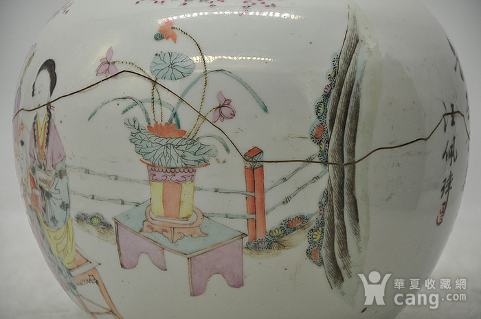 人物粉彩老瓷罐图5