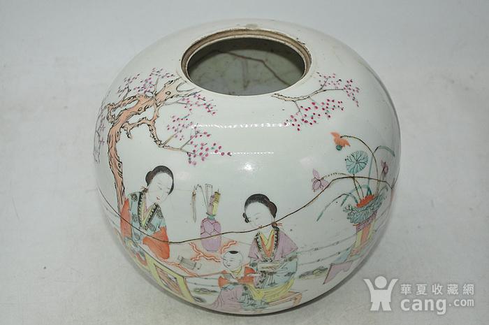 人物粉彩老瓷罐图3
