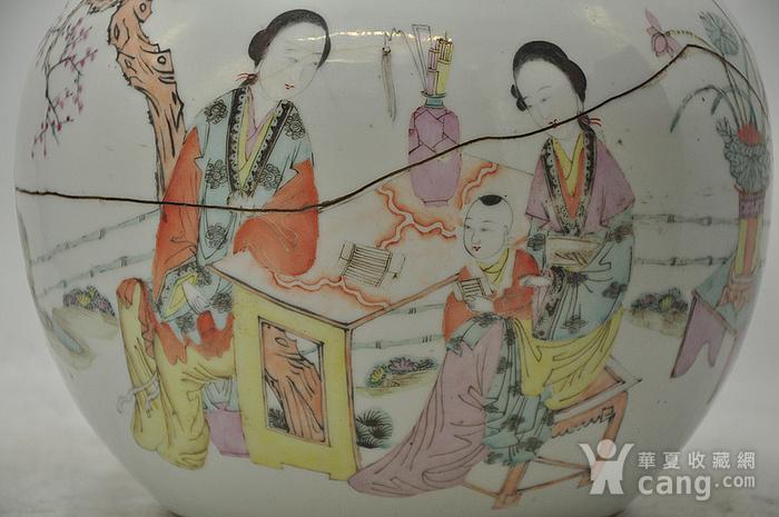 人物粉彩老瓷罐图2