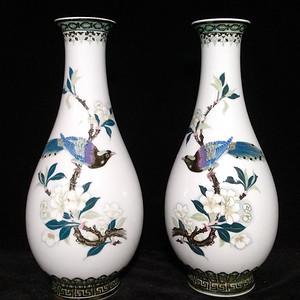 英国回流的醴陵瓷锦鸡富贵图花瓶一对