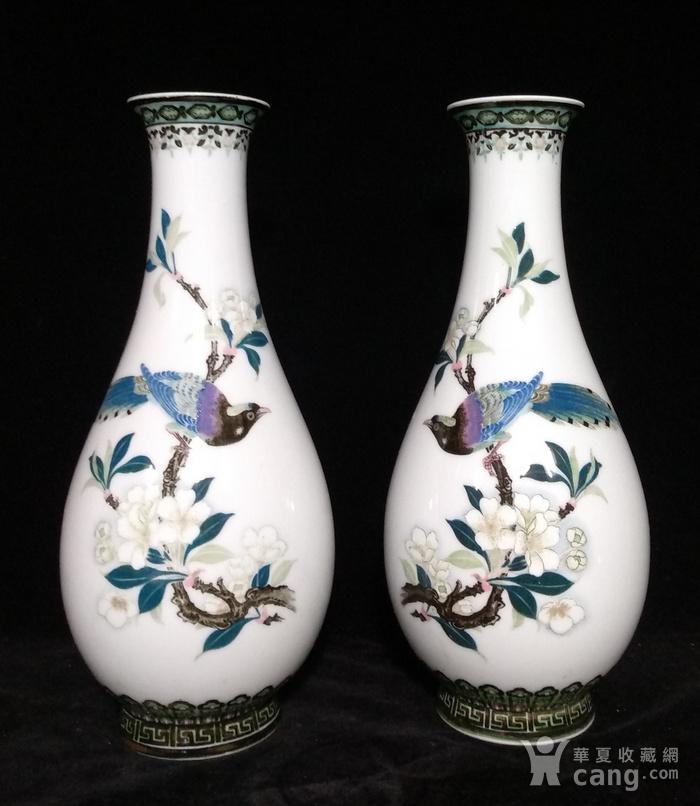 英国回流的醴陵瓷锦鸡富贵图花瓶一对图1
