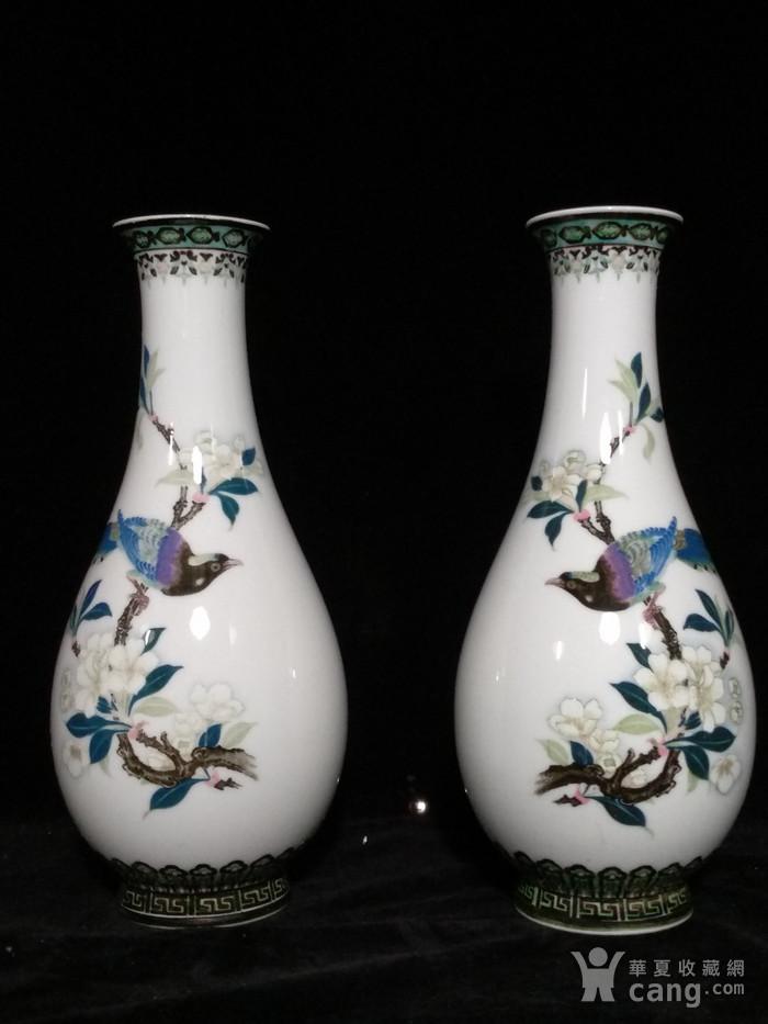 英国回流的醴陵瓷锦鸡富贵图花瓶一对图11