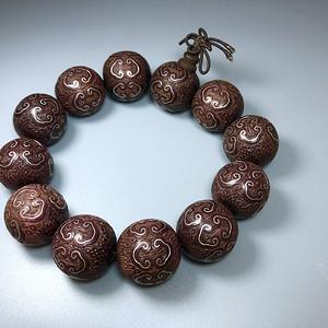 天然印度小叶紫檀嵌银丝手串一条