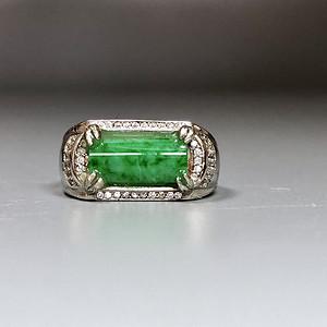 精品 天然翡翠A货正阳绿戒指一枚