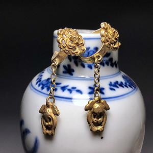 精品收藏级清宫首饰 银鎏金耳环一对