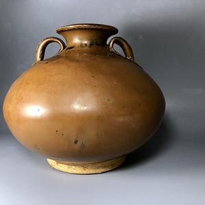 精品高古瓷 宋代磁州窑紫金釉双系罐一只