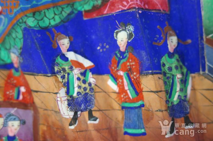 清代十三行彩绘描金人物黑漆扇图5
