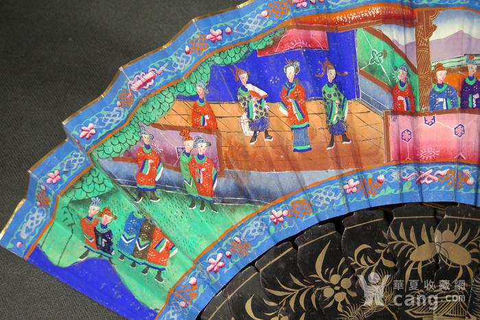 清代十三行彩绘描金人物黑漆扇图8