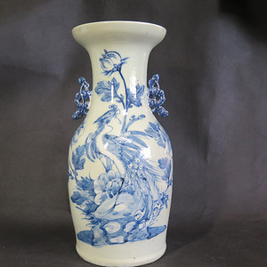 清代41cm凤戏牡丹纹花耳大花瓶