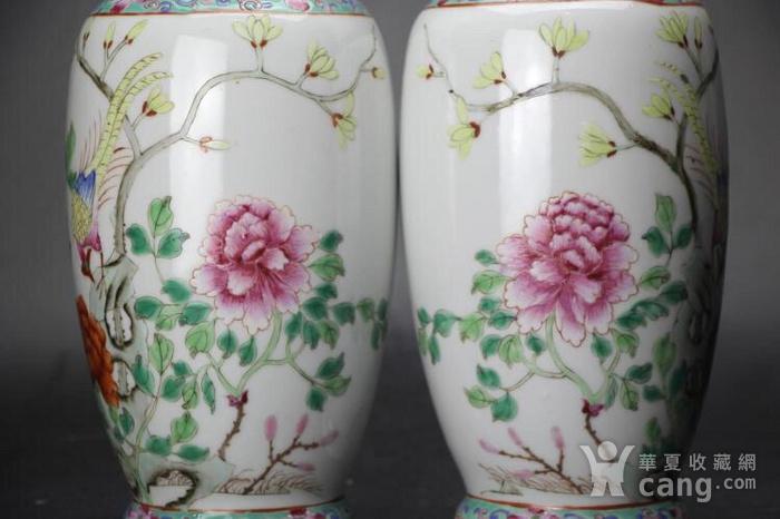 晚清民国细路薄胎粉彩锦鸡牡丹玉兰花卉纹瓶一对图4