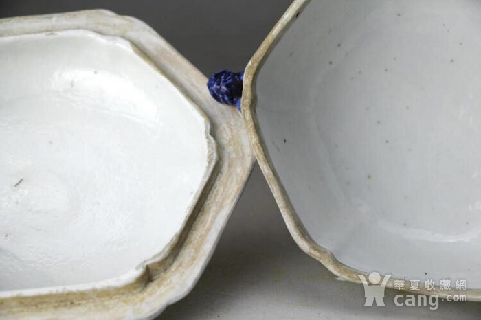 大清乾隆精品青花园林牡丹花卉纹狮钮盖盆图7