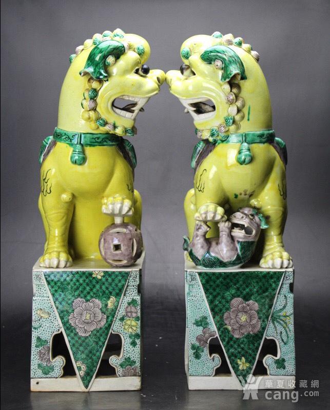 民国精品素三彩瓷塑大狮子一对图2