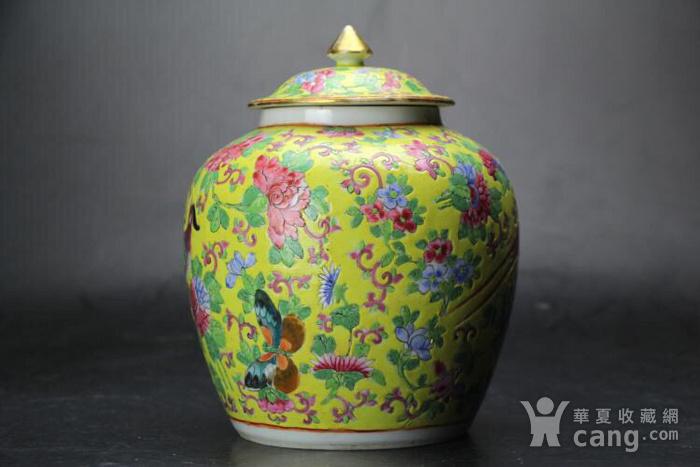 晚清精品黄地粉彩花鸟纹盖罐图2